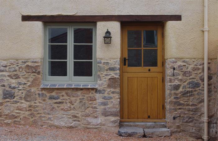Traditional building conservation cob cottage renovation for Cottage back door